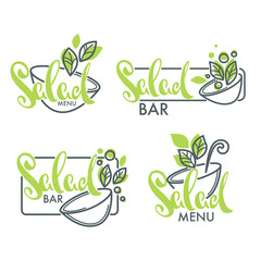 salad bar and menu logo , emblems and symbols, lettering composition with line art image of green leaves