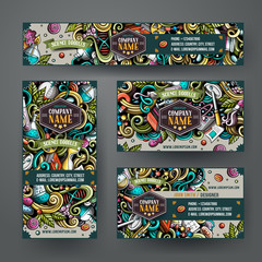 Corporate Identity vector templates set design with doodles Science theme