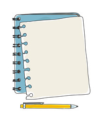 notebook note paper  and yellow pen handdrawn vector art illustration
