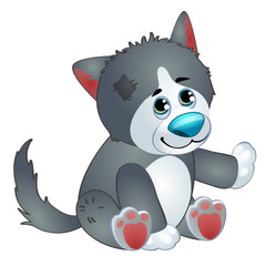 Cute wolf - old childrens stuffed toy with patch. Vector illustration in cartoon style isolated on white