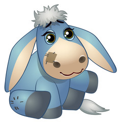 Cute donkey - old childrens stuffed toy with patch. Vector illustration in cartoon style isolated on white