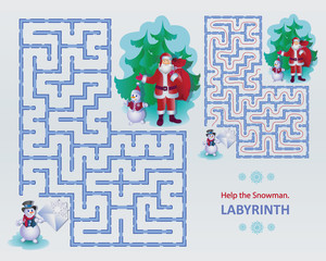 Help the Snowman. Labyrinth. Labyrinth image design for educational game. Santa Claus and Snowman in the style of cartoon characters.
