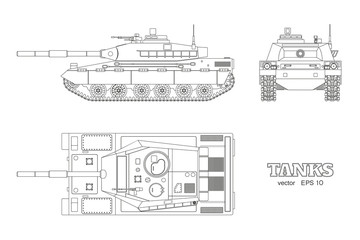 Realistic tank blueprint. Outline armored car on white background. Top, side, front views. Army weapon. War camouflage transport