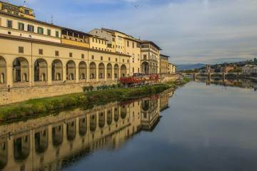 water reflections in river Arno, Florence, Italy