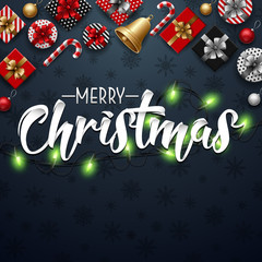 Christmas typographical blue background with lights bulb and elements