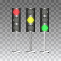 Traffic lights on transparent