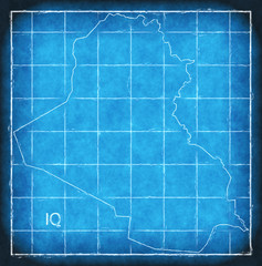 Iraq map blue print artwork illustration silhouette