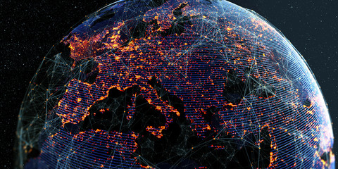 Global International Connectivity Background/ Futuristic Technology  Theme Background with Light Effect. Connection lines Around Earth Globe