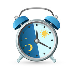 Old clock with day and night parts on vector illustration