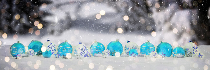 Blue and white christmas baubles with candles 3D rendering
