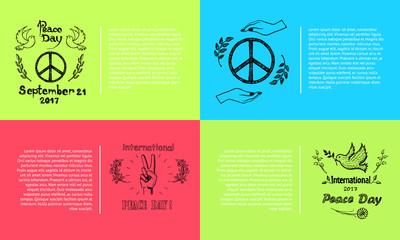Peace Day September 21 Vector Illustration Set