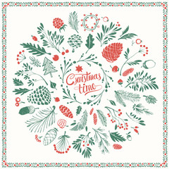 Christmas Floral Design Elements with Shabby Texture