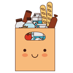 kawaii rectangular paper bag with handle and foods sausage and bread apples and drinks orange juice and water bottle and milk carton in colorful silhouette