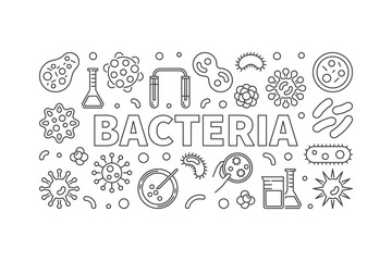 Bacteria horizontal thin line illustration. Vector concept banne