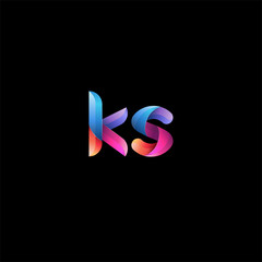 Initial lowercase letter ks, curve rounded logo, gradient vibrant colorful glossy colors on black background
