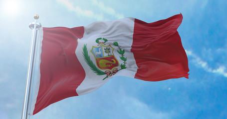 Amazing waving Peruvian flag.