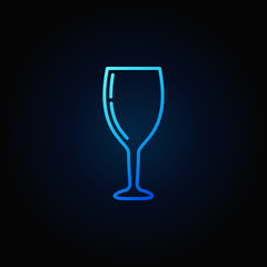 Wine glass concept blue vector icon