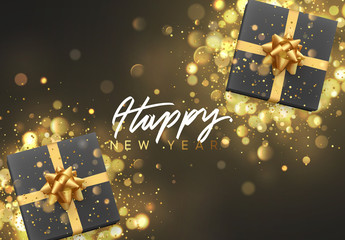 Happy New Year. Christmas background with gift box and golden lights bokeh. Xmas greeting card. Magic holiday poster, banner. Night bright gold light background