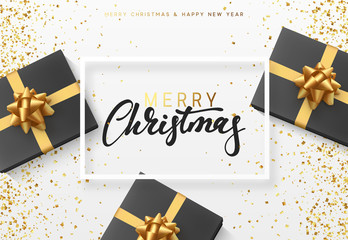 Christmas background with gifts box. Text Merry Christmas in a frame