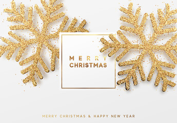 Christmas background with shining gold snowflakes. Lettering Merry Christmas. Xmas festive greeting card vector Illustration.