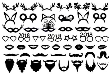 Christmas (new year) party set. Horns, ears, carnival masks, lips, glasses, moustache, beards.