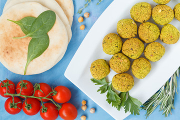 Fresh baked falafel with pita. Vegan dietary healthy food concept.
