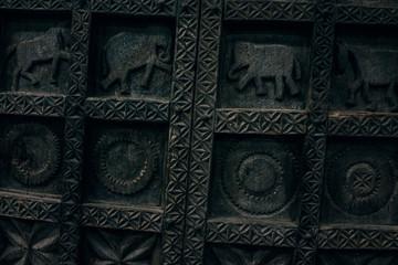 Carved Wooden Elephant Door