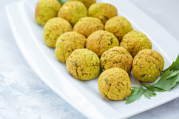 Fresh baked falafel with parsley