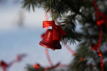 Red bell on a branch of a Christmas tree