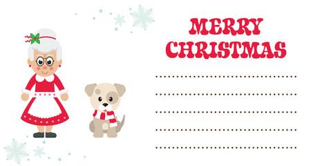 cartoon mrs santa and winter dog christmas card