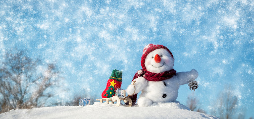 Happy snowman with hat
