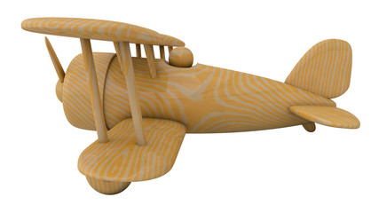 Wooden toy airplane. 3D render