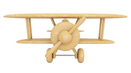Wooden toy airplane. 3D render