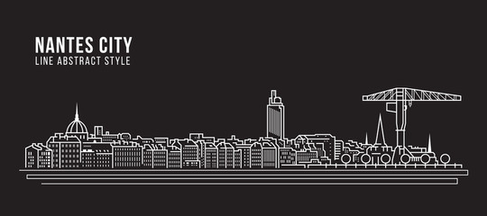Cityscape Building Line art Vector Illustration design - Nantes city Fototapete