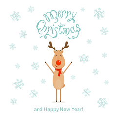 White Christmas background with happy reindeer and snowflakes