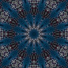 abstrakt fraktal zwölfeck mandala blau silber