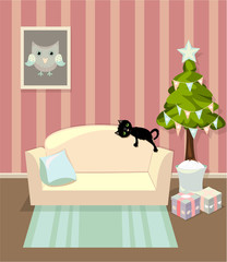 Living room in house with sofa, picture and cat. Christmas version.