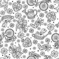 Spring floral seamless pattern with floral bicycle, birds and flowers. Vector seamless wallpaper.