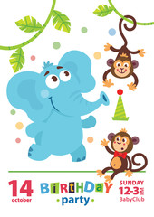 Greeting card design with cute elephant and monkey. Happy birthday invitation template with cartoon animals and funny letters. For baby birthday, party, invitation.