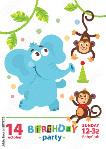 Greeting Card Design With Cute Elephant And Monkey Happy Birthday Invitation Template Cartoon Animals