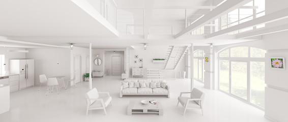 White loft interior panorama 3d rendering