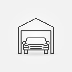 Car garage icon - vector symbol in thin line style