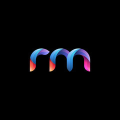 Initial lowercase letter rm, curve rounded logo, gradient vibrant colorful glossy colors on black background