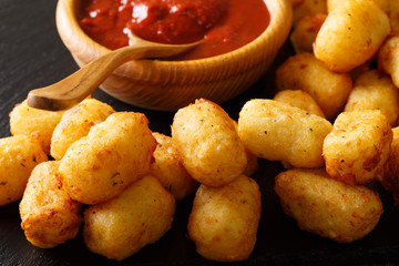 Homemade Tater Tots with tomato sauce close up. horizontal