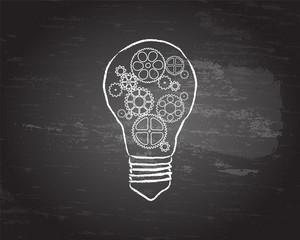 Light Bulb Gears Blackboard