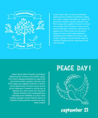 Peace Day Symbols Pigeon with Olive Branch Tree