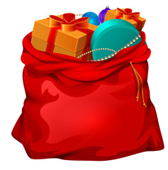 Red open santa bag with gifts. Christmas accessory