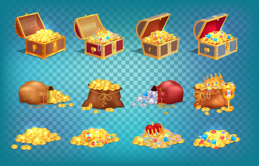 Gold Treasures in Old Wooden Chest and Fabric Bag