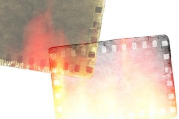 Grunge film strip frame with burned effect.