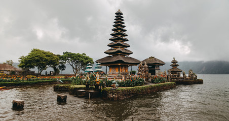 Ulun Danu Bratan (Pura Ulu Danau) temple. Famous place, national landmark of Bali, Indonesia. Panoramic